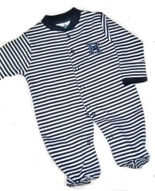 Image For FOOTED ROMPER - NAVY/WHITE STRIPED