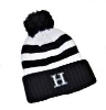 Image for KNIT HAT - NAVY BLUE/WHITE STRIPED